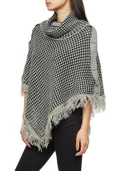 Side Buttons Fringe Knit Poncho - BLK/HEATHER - 3022038347182