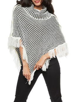 Side Buttons Fringe Knit Poncho - 3022038347182
