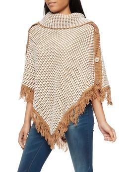 Side Buttons Fringe Knit Poncho - CAMEL/IVORY - 3022038347182