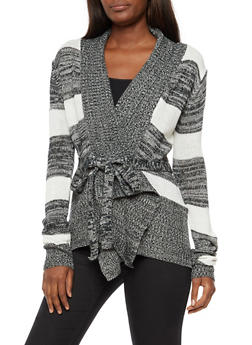 Striped Open Front Belted Cardigan - 3022038347203