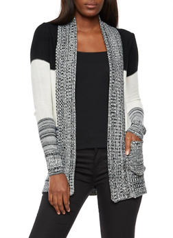 Marled Color Block Open Front Cardigan - 3022038347217