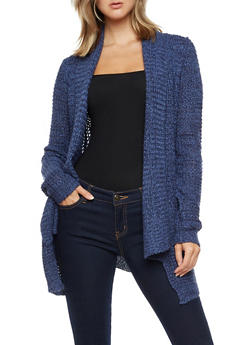 Long Sleeve Open Front Sweater with Pockets - 3022038347218