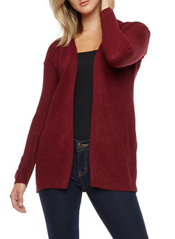 Long Sleeve Open Front Cardigan with Twist Back - BURGUNDY - 3022038347236