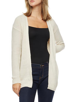 Long Sleeve Open Front Cardigan with Twist Back - 3022038347236
