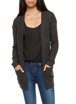 Open Front 2 Pocket Cardigan - 3022038348205