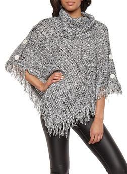 Marled Fringe Knit Poncho - 3022038349181