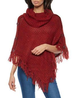 Marled Fringe Knit Poncho - BURG/RUST - 3022038349181