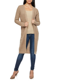 Long Open Knit Duster with Pockets - 3022054260818