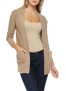 Open Front Cardigan with Rib Knit Trim - 3022054264347