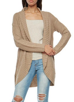 Shawl Collar Open Front Knit Cardigan - 3022054268832