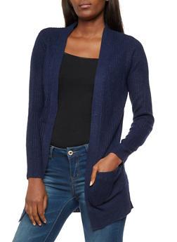 Open Front Pocket Knit Cardigan - 3022054268840