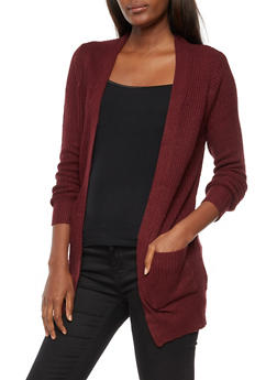 Open Front Pocket Knit Cardigan - 3022054268840