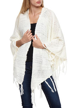 Open Front Asymmetrical Hooded Fringe Cardigan - 3022054268884