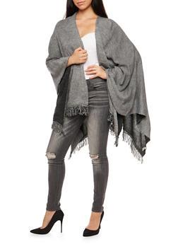 Marled Wrap Shawl with Fringe - 3022054268885