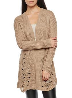 Ripped Knit Cardigan - 3024015050364