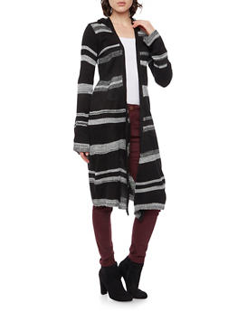 Hooded Knit Duster with Stripes - 3024038346206