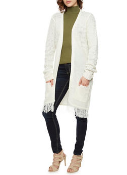 Knit Open Cardigan with Fringed Trim - 3024038346208