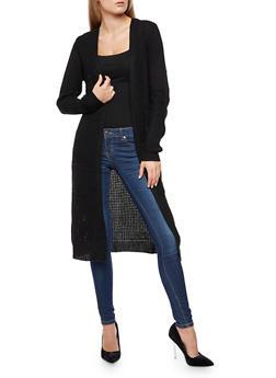 Heavy Knit Duster - BLACK - 3024038347210