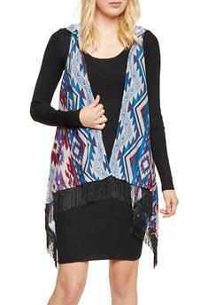 Hooded Southwestern Print Vest with Fringe - 3030038341333