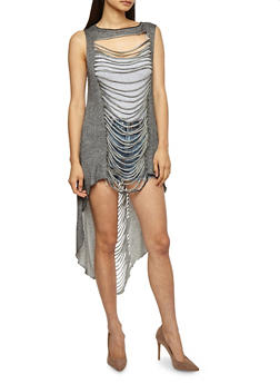 Slashed High Low Tunic Top - 3030058750284
