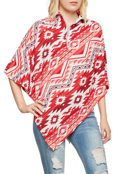 Southwestern Print Poncho with Zippered Mock Neck - 3031038341329