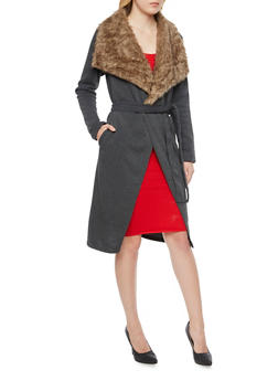 Knit Belted Coat with Faux Fur Trim - CHARCOAL - 3031038341405