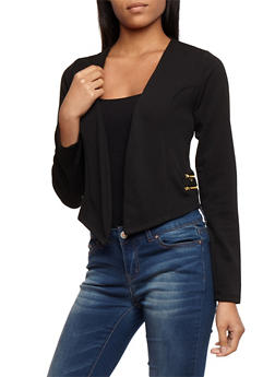 Textured Knit Asymmetrical Open Front Blazer with Zipper Details - BLACK - 3031038347144