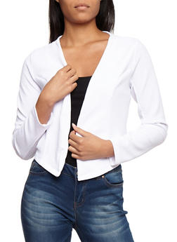 Textured Knit Asymmetrical Open Front Blazer with Zipper Details - WHITE - 3031038347144