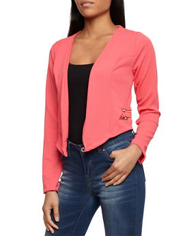 Textured Knit Asymmetrical Open Front Blazer with Zipper Details - CORAL - 3031038347144