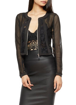 Lace Mesh Cropped Zip Up Jacket - 3031051066185