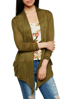 Long Sleeve Lightweight Cardigan - OLIVE - 3031054261613