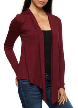 Long Sleeve Open Front Cardigan - BURGUNDY - 3031054261741