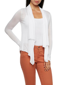 Semi Sheer Cardigan with Open Front - WHITE - 3031054264281