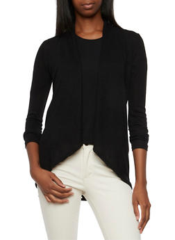 Open-Front Cardigan with Draped Shawl Lapel - 3031054264498