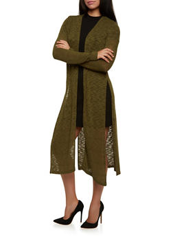 Long Sleeve Knit Duster with Side Slits - 3031054268065