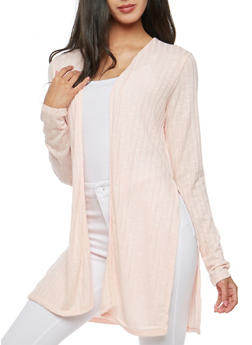 Slit Ribbed Knit Duster - 3031054268371