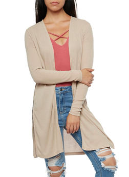 Ribbed Knit Cardigan - 3031054268385