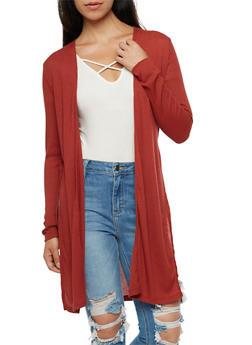 Ribbed Knit Cardigan - MARSALA - 3031054268385