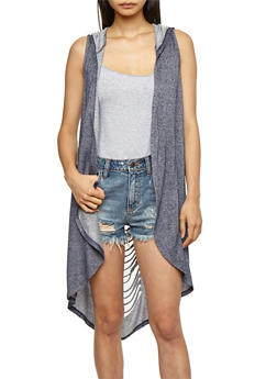 Laser Cut Hooded French Terry Duster - NAVY - 3031058750291