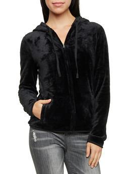 Plush Zip Front Hoodie - 3031058757290