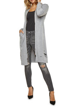 Laser Cut Zip Front Sweatshirt Duster - 3031058759075