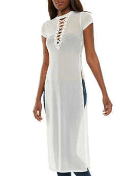 Mesh Lace Up Maxi Top - 3031058759275