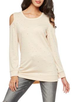 Long Sleeve Slashed Off the Shoulder Sweatshirt - 3031058759441
