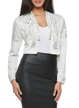 Studded Cropped Blazer - 3031067330095