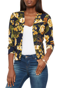 Long Sleeve Floral Print Open Front Blazer - NAVY - 3031067330096