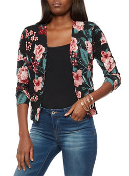 Long Sleeve Floral Print Open Front Blazer - 3031067330096