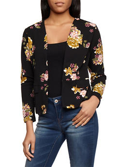 Floral Textured Knit Open Front Blazer - 3031067330097