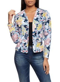 Floral Textured Knit Blazer - NAVY - 3031067330098