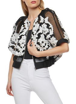 Mesh Bolero Jacket with Stitched Ribbon Detail - 3031067330255