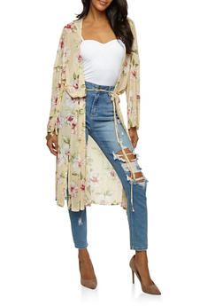 Floral Mesh Tie Waist Duster - 3031067330832